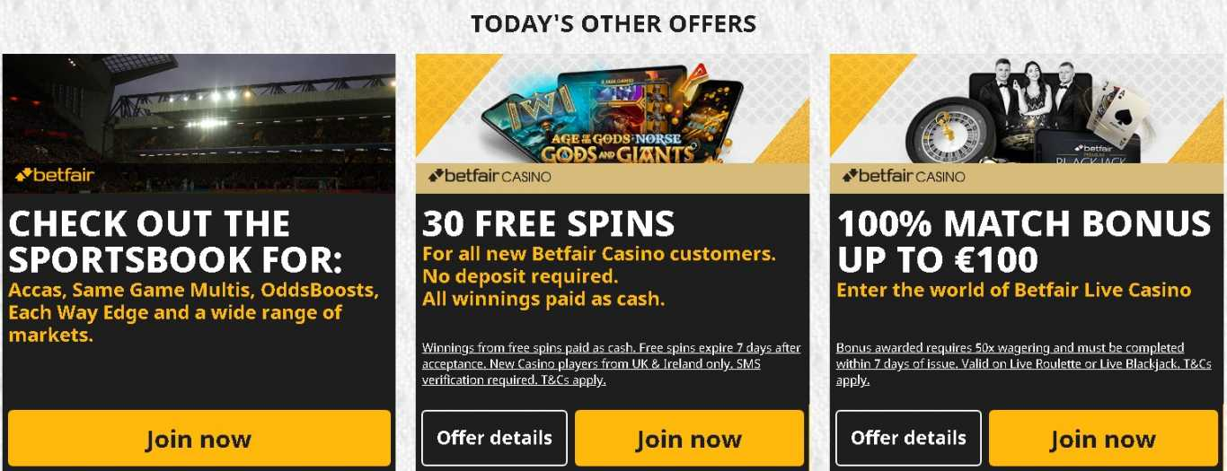 Betfair promo code offers